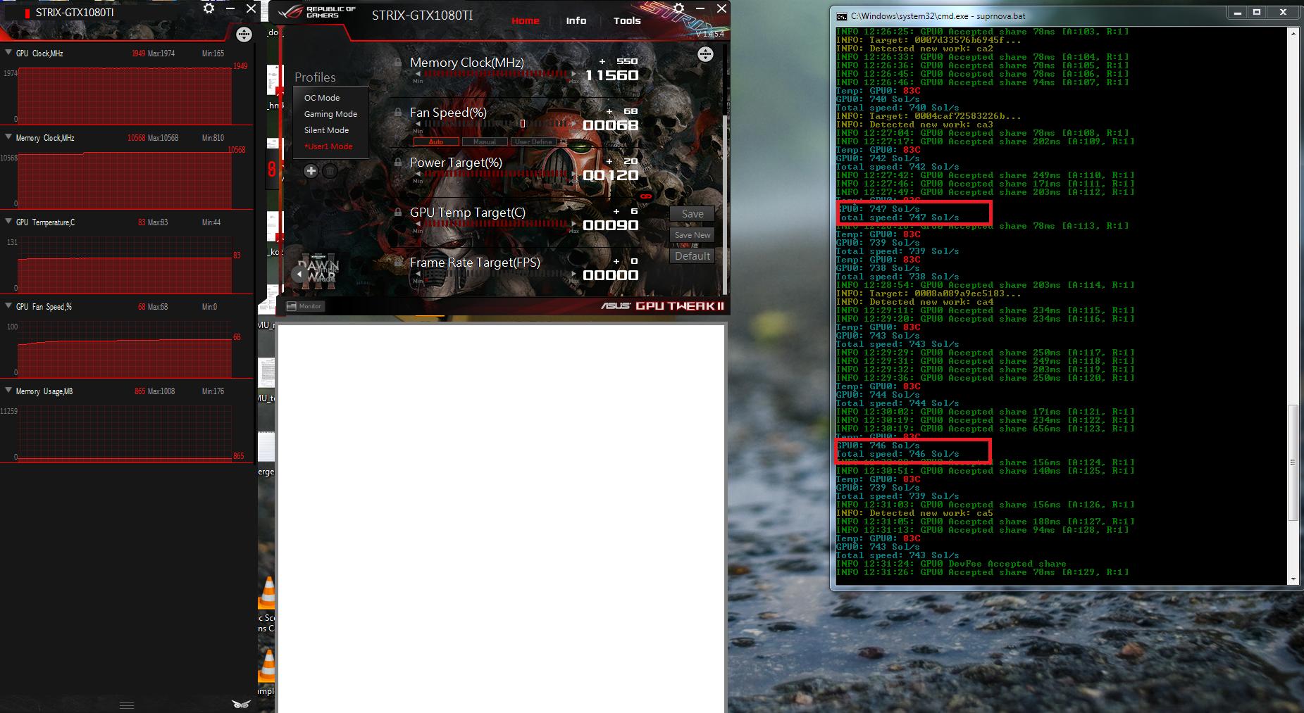 748 Sol/sec Zcash (equihash) teljesítmény egy GTX 1080 Ti kártyából