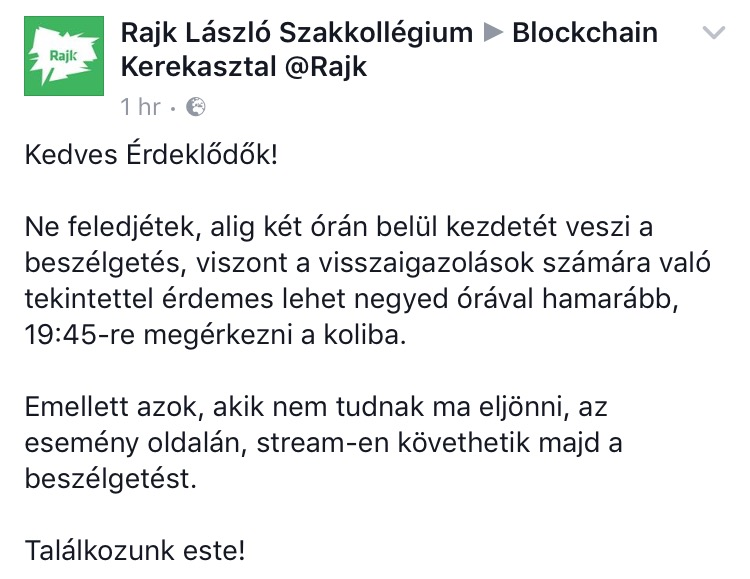 Blockchain kerekasztal a Rajkban ma!