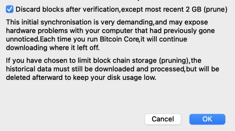 Set Prune on bitcoind