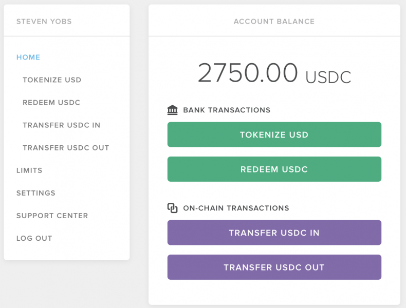 Circle USDC wallet to tokenize and redeem usd->usdc