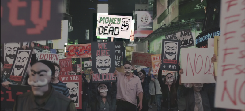 MrRobot scene - fsociety protest agains money - Amazon Prime Video