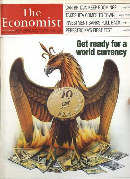 "The Economist magazine front page with ""Get ready for the world currency"" title"